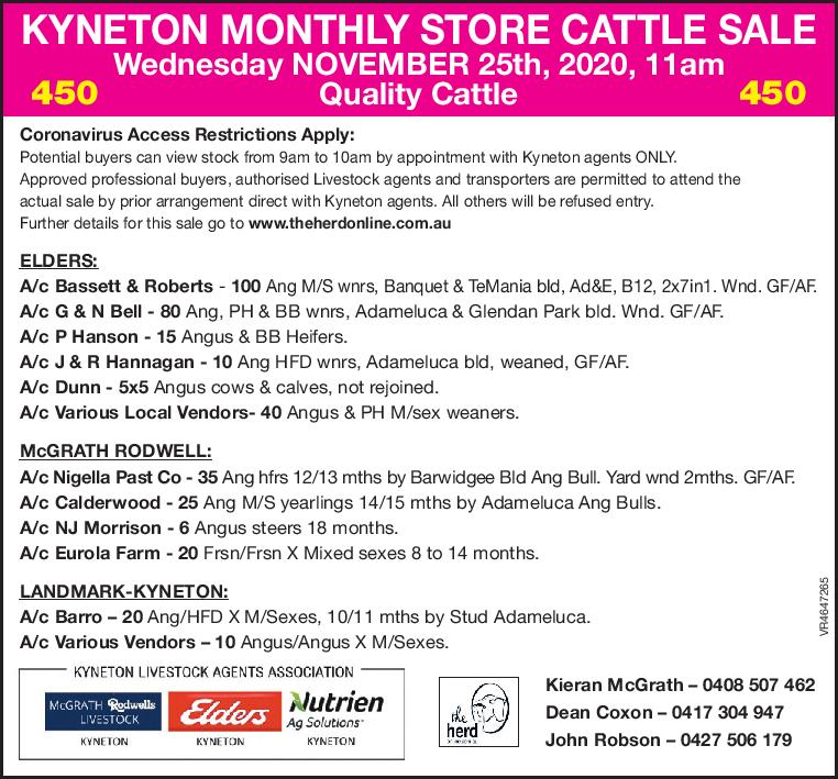 KYNETON MONTHLY STORE CATTLE SALE