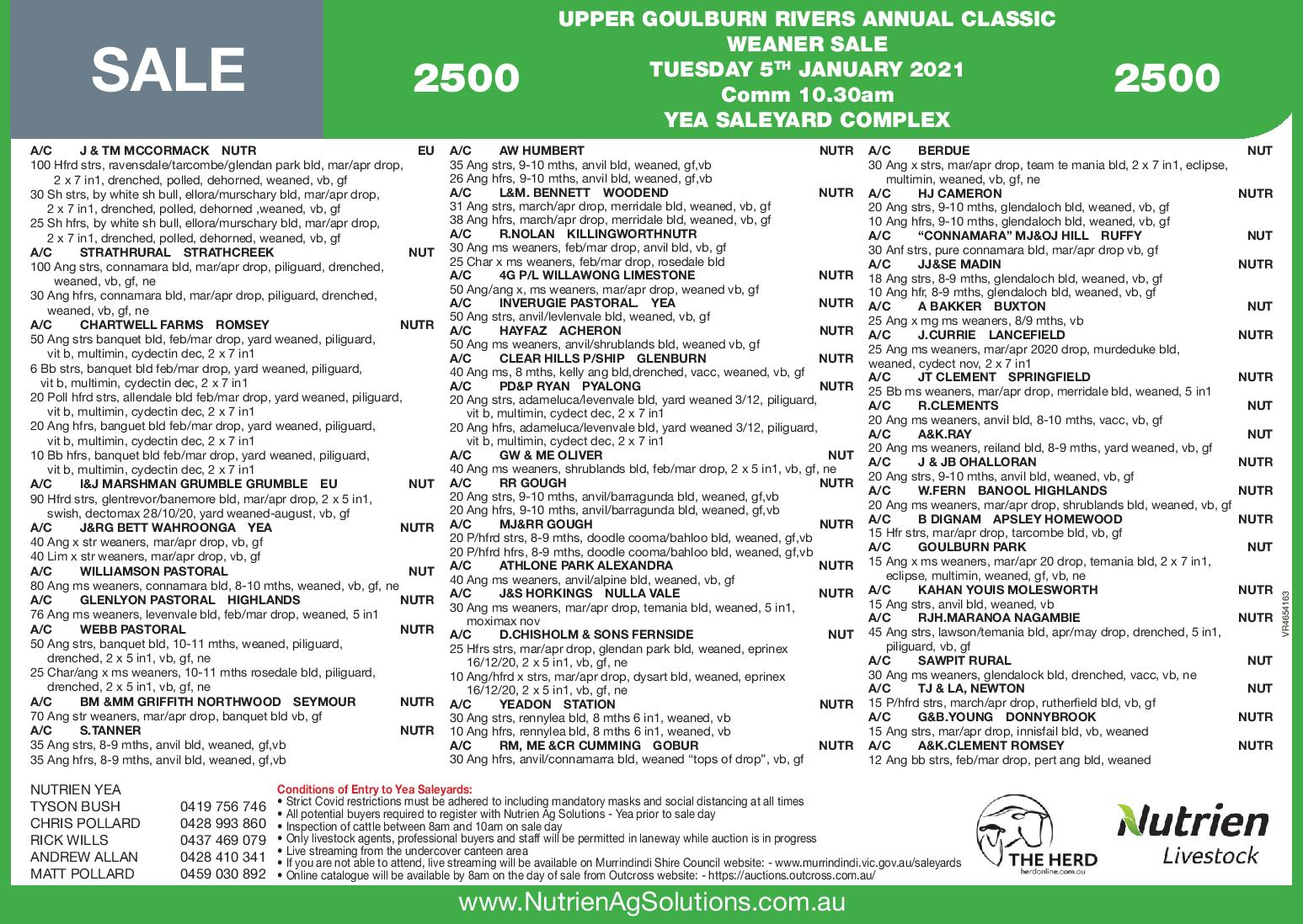 UPPER GOULBURN RIVERS ANNUAL CLASSIC WEANER SALE2500