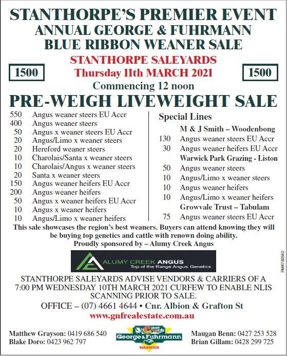 Blue Ribbon Weaner Sale
