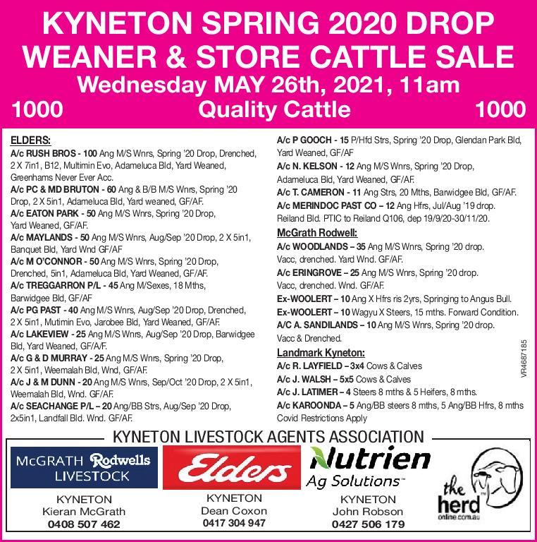 KYNETON SPRING 2020 DROP WEANER & STORE CATTLE SALE