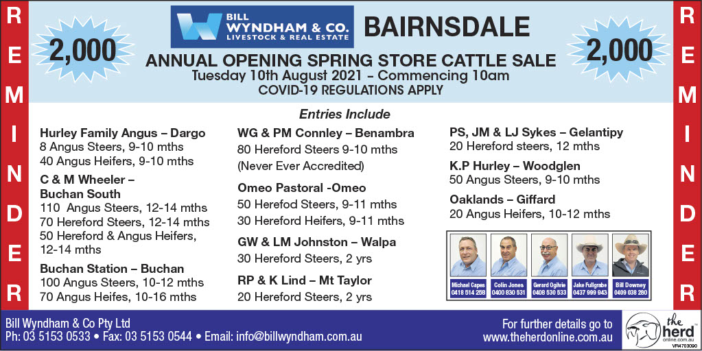 Bill Wyndham & Co ANNUAL OPENING SPRING STORE CATTLE SALE