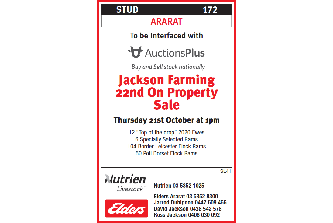 ARARAT  Jackson Farming 22nd On Property Sale